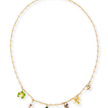 Turner & Tatler Mixed Clover Charm Necklace with Ruby, Sapphire & Diamond