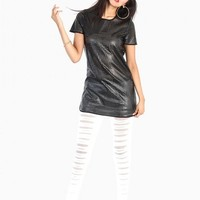 Square Cut Out Leather Dress - Black