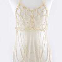 PEARL BALL TIERED BODY CHAIN
