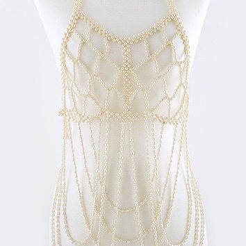 Pearl Encrusted Tiered Body Chain
