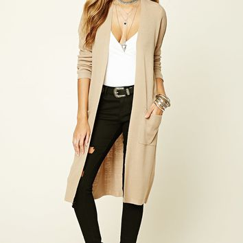 Ribbed Knit Open-Front Cardigan