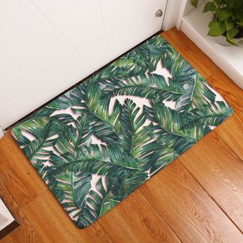 New  Anti-Slip Carpets Plant Leaves Print  Mats  Bathroom  Floor  Kitchen  Rugs  40X60  50X80 cm