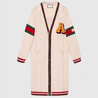GUCCI Trending Women Stylish Tiger Head Jacquard Long Sleeve V Collar Knit Long Cardigan Jacket Coat