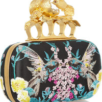 Alexander McQueen | Knuckle embroidered satin box clutch | NET-A-PORTER.COM