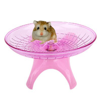 Hamster Mouse Running Disc Flying Saucer Exercise Wheel Samll Animals Guinea-Pig Cage Accessories Pink 18cm