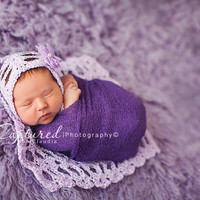 Lavender Lace Bonnet and Layering Blanket, photography prop, newborn, infant