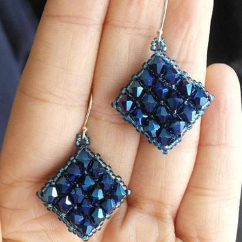 FREE SHIPPING Square Beaded Deep Blue Earrings, Medium Dark Blue Crystals, Lightweight Gift Large Geometric Silver Dangle Earrings Metallic