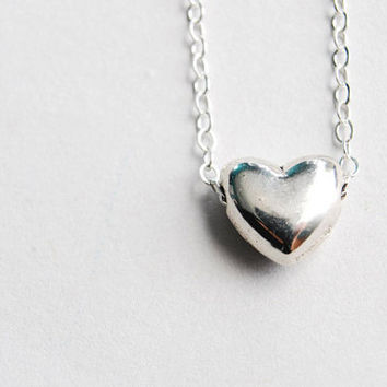 Silver Heart Necklace. Heart Necklace. paperface studio