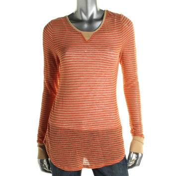 Free People Womens Striped Long Sleeves Pullover Top