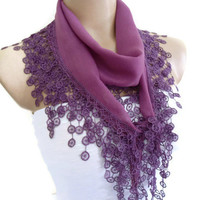 Necklace scarves, Traditional Turkish-style, Headband, scarf, Plum, fashion 2013, Mothers day