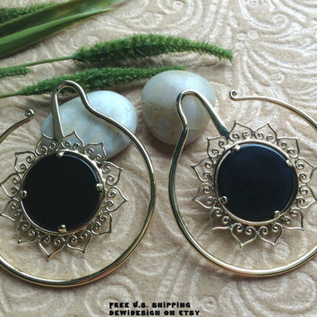Ear Weights, Earrings For Stretched Lobes, 8 Gauge (3mm) Gauges, Brass, Onyx, DewiDesign, Tribal