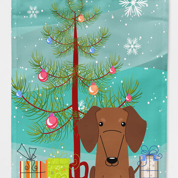 Merry Christmas Tree Dachshund Red Brown Flag Canvas House Size BB4255CHF