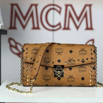 Kuyou Gb79810 Mcm Millie Brown Crossbody Bag In Studded Outline Visetos Leather  23.5x13.5x5cm