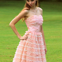 Vintage 1950s 50s Cupcake STRAPLESS Pink Tiered Chiffon Organza Lace Party Prom Wedding DRESS Gown