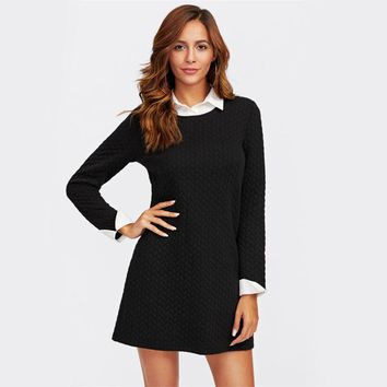 Patchwork Contrast Collar And Cuff Textured 2 In 1 Dress