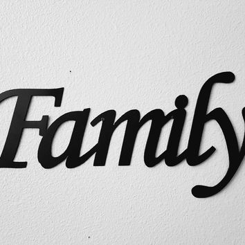 Family Word Sign Monotype Font Metal Wall Art