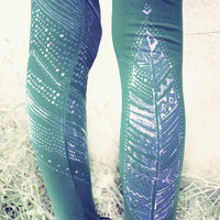 TRIBAL FEATHER LEGGINS turquoise purple handpainted