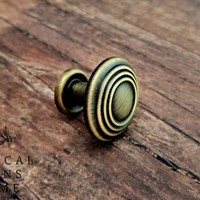 Antiqued Gold Multi Ring Drawer Knob Footed Drawer Knob Multi Ring Drawer Pull Decorative Knob Cabinet Knob Traditional Dresser Hardware