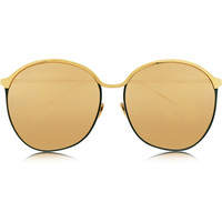 Linda Farrow - Gold-plated round-frame mirrored sunglasses