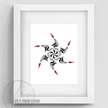 Original Art Print, Print, Digital File, Wall Art, Black and White, Abstract, Modern Art, Downloadable Print, Instant Download, Ninja Star