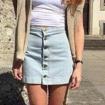 Denim Button Mini Skirt