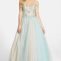 Women's Terani Couture Embellished Tulle Strapless Ballgown