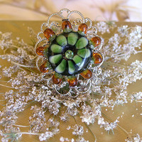 Vintage Style Ringe, Handmade Lampwork  Ring, Green Amber Glass Flower Bead,Romantic Ring OOAK