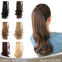 "20"" Long Curly Wrap Around Ponytail Hair Extension Synthetic Hair"
