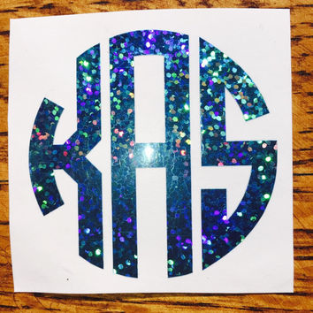 Circle Glitter Monogram Decal