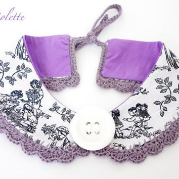 Peter Pan collar Necklace detachable collar crochet collar black white necktie Fabric Grey white collar
