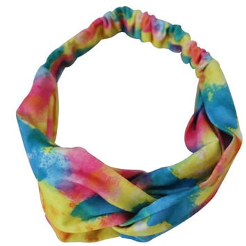 Free Shipping 2016 New Summer Colorful Tie Dye Elastic Twist Turban Heaband Hair Band For Women