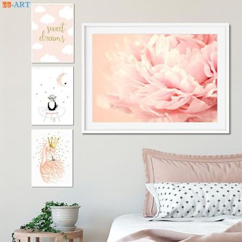 Gold Glitter Crown Prints Blush Pink Peonies Flower Poster Wall Art Cute Canvas Painring Nursery Girls Room Home Decor