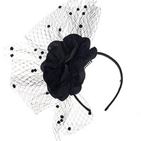 NYfashion101 Enlarged Flower Dotted Mesh Bow Cocktail Fascinator Headband Black