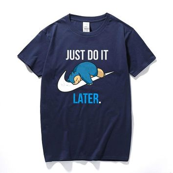 T-Shirt Reality Game Snorlax Just Do it Later t shirt funny t shirt men clothing camisetas hombre short sleeve t-shirtKawaii Pokemon go  AT_89_9