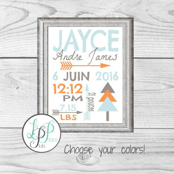 Tribal Birth Stats Print, Tribal Baby Shower Gift, Arrow Nursery Print, Tribal Nursery Decor, Boho Nursery Decor, Aztec Nursery Decor