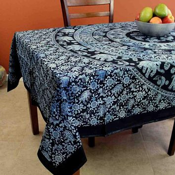 Cotton Elephant Mandala Tablecloth Rectangle Bedspread Beach Sheet Dorm Black White