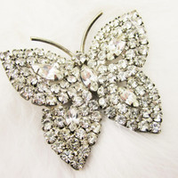 Rhinestone Butterfly Pin Vintage Jewelry Insect Bug Fashion Jewelry Spring Brooch