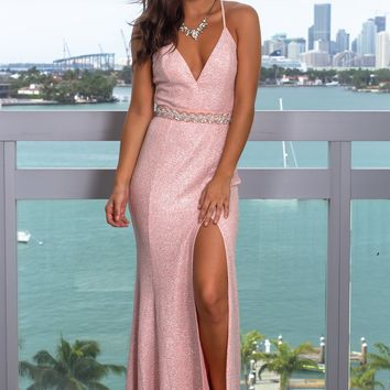 Blush Shimmer Maxi Dress with Waist Detail
