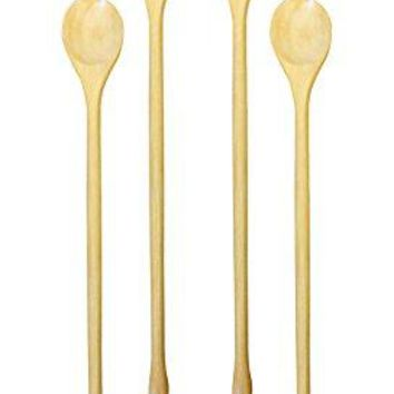 Set of 4 Omin Handmade Natural Kankrao Wood Long Handle Wooden Spoons Cocktail Drink Stirrers Swizzle Sticks Bar Spoon Cocktail Mixing Spoon 82 Inch with Gift Package