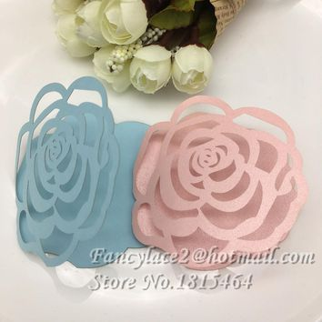 50pcs Paper Valentine gift Card Laser cut Rose Flower Wedding tag wish cards Message Card Invitation Decoration