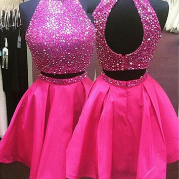 High Neck Short Beading A-Line Prom Dresses Evening Dresses