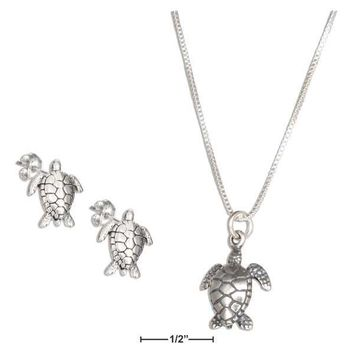 "Sterling Silver Studs:  18"" Turtle Pendant Necklace With Turtle Earrings Set"