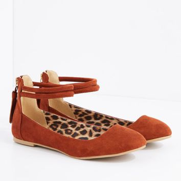 Cognac Ankle Strap Ballet Flat By Qupid | Ballet | rue21