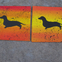 Set of 2 dachunds on tiny canvases miniature dog dogs puppies puppy small painting art wall or coaster small colorful cheap  tiny decor