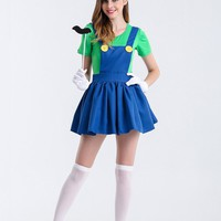 Halloween  Super  Mario  Costume  Women  Luigi  Costume