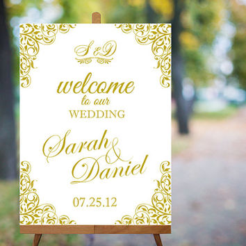 Wedding Welcome Sign Printable Wedding Sign Gold Wedding Signs Elegant Wedding Signs Custom Wedding Signs Large Digital Wedding Sign PDF