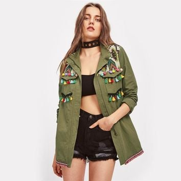 Embroidered Yoke Tassel Pom-Pom Trim Utility Jacket