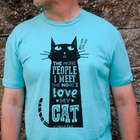 Love My Cat - Men's purrr-fect cat t-shirt in Light Gray or Tahiti Blue
