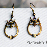 SALE-Vintage style Owl Earrings antique brass EO02