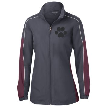 Paw Print Ladies Piped Colorblock Windbreaker